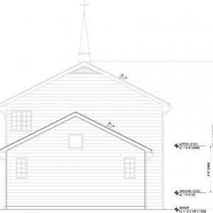 会堂背面図(東側)